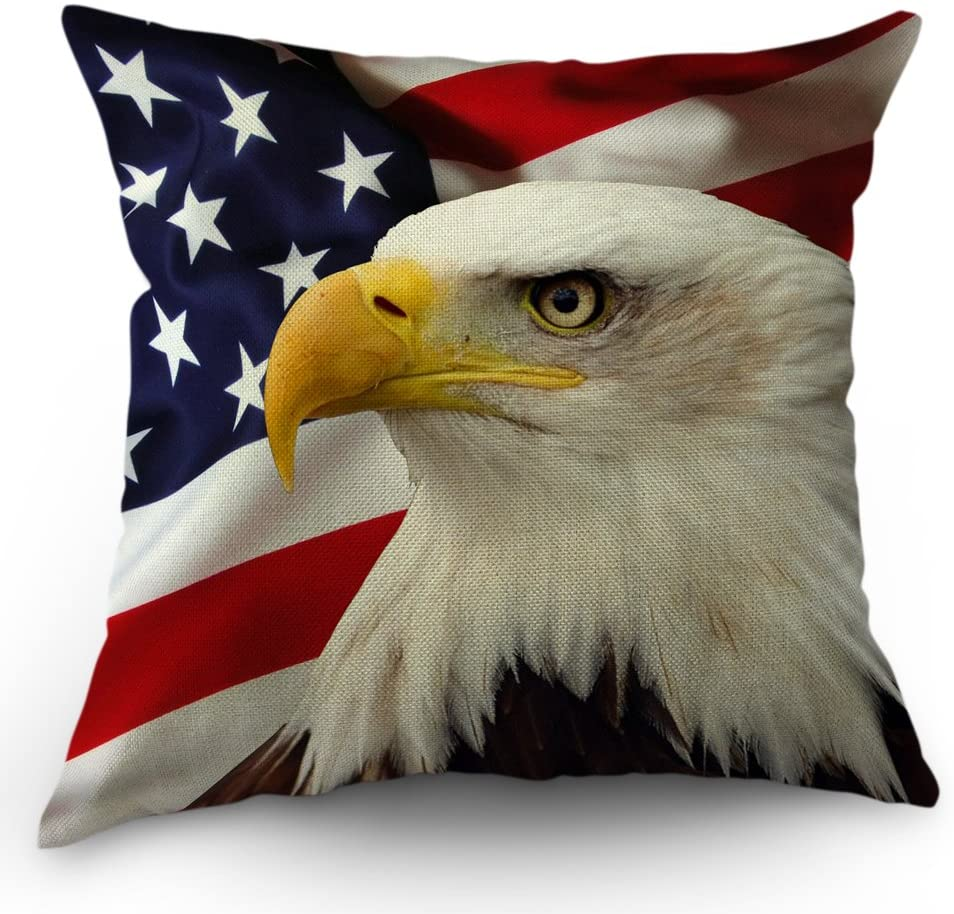 Moslion American Flag Eagle Pillow Covers Decorative Cool Big Eagle USA Flag Happy Independence Day 4th of July Throw Pillow Cases 18 x 18 Inch Cotton Linen Cushion Cover for Men Women Dark Blue White