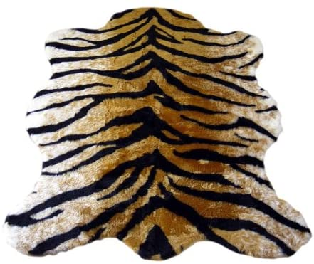 Walk on Me Classic Faux Fur Tiger Skin Rug - New Made in France (3x5 (Actual 40