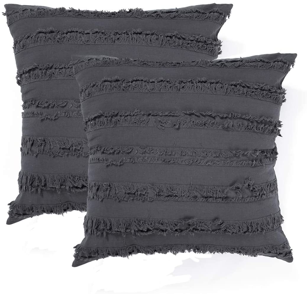 Decorative Throw Pillow Covers for Couch Sofa Bed, Soft Cotton Linen Cushion Covers with Decor Fringe, Accent Pillow Cases for Bed, 18 x 18 Inches, Pack of 2, Dark Grey