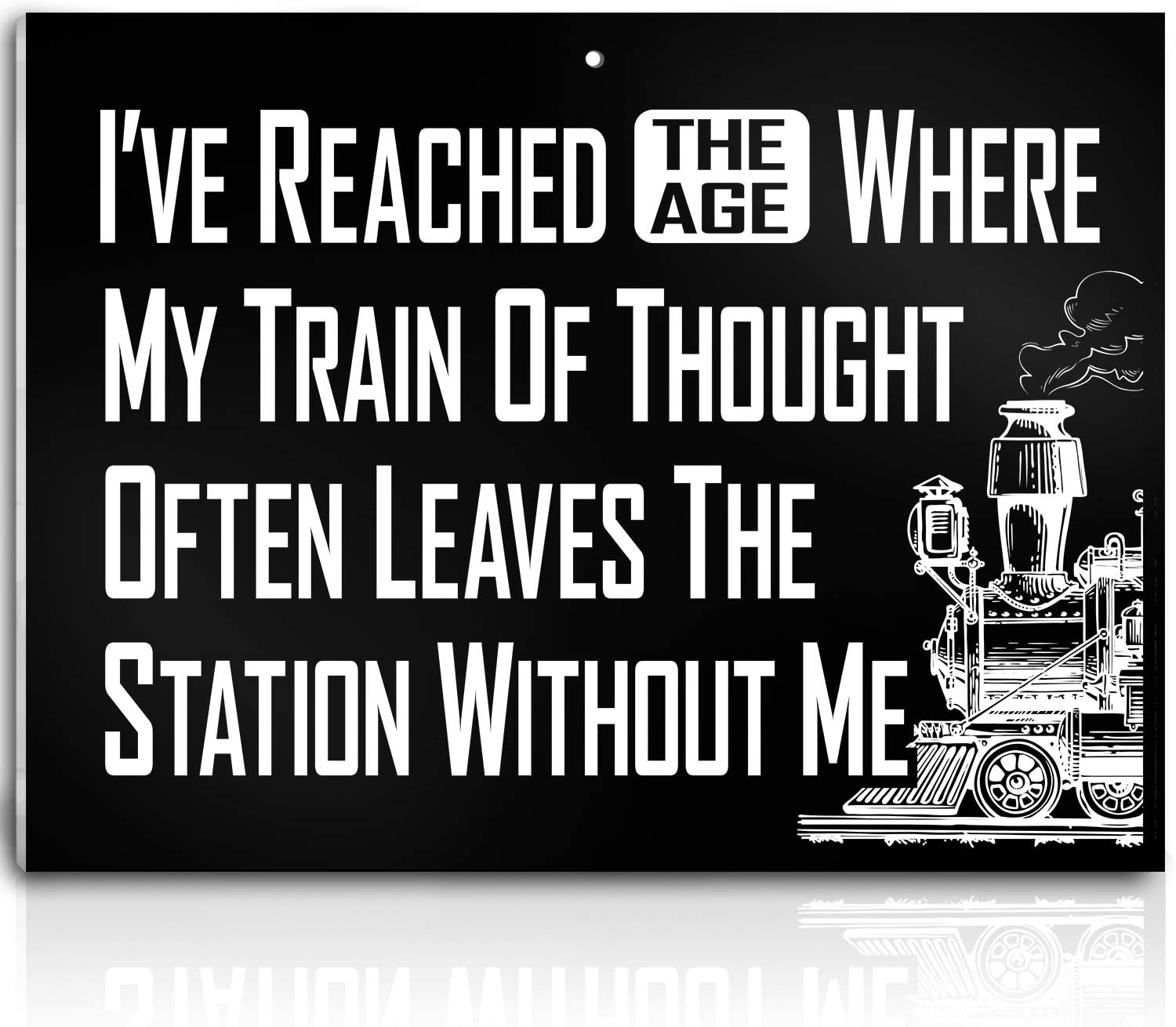 Bigtime Signs Sanity Train Sign – My Train of Thought Leaves The Station Without Me Decor – PVC Plaque with Funny Saying - Wall, Kitchen, Home, Room Bedroom Decoration - 8x10 Inch (Train)