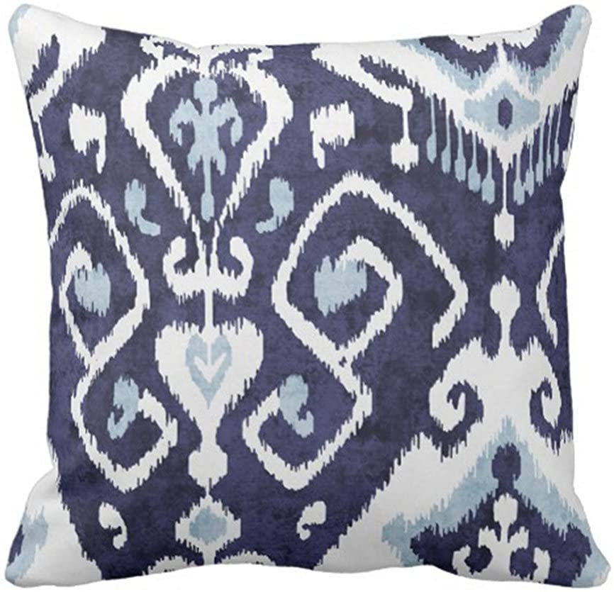 SPXUBZ Modern Chic Decorative Blue and White Ikat Tribal Pillow Cover Decorative Home Decor Nice Gift Square Indoor/Outdoor Pillowcase Size: 18x18 Inch(Two Sides)
