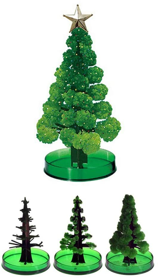 Wanshix 10pc Magic Growing Crystal Christmas Tree DIY Christmas Paper Tree Grows in Hours Children Xmas Gift