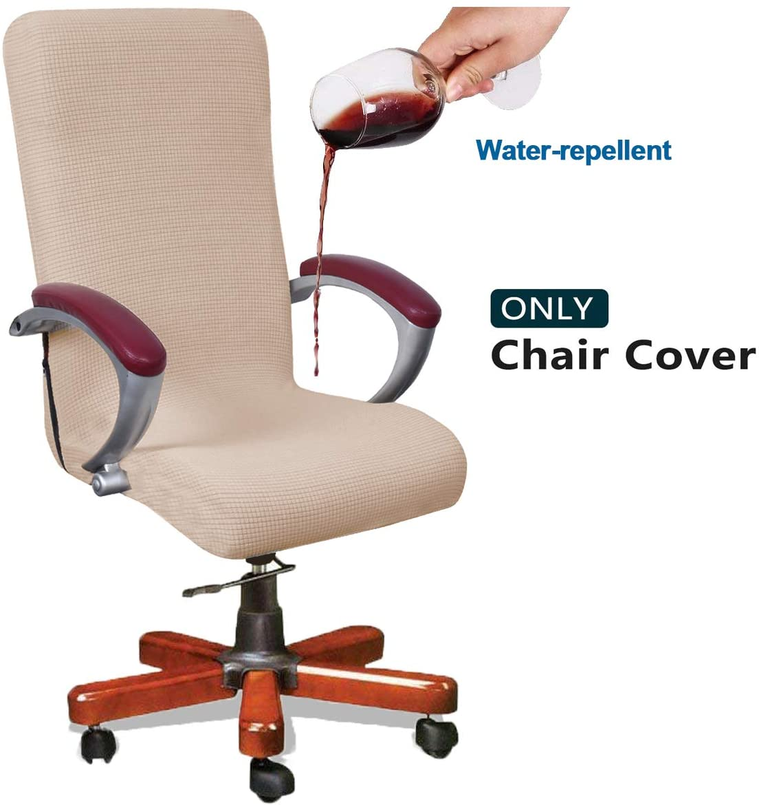 WOMACO Stretch Desk Chair Cover Large Office Chair Covers Stretchable Cover for Computer Chair (2-Beige, Large)