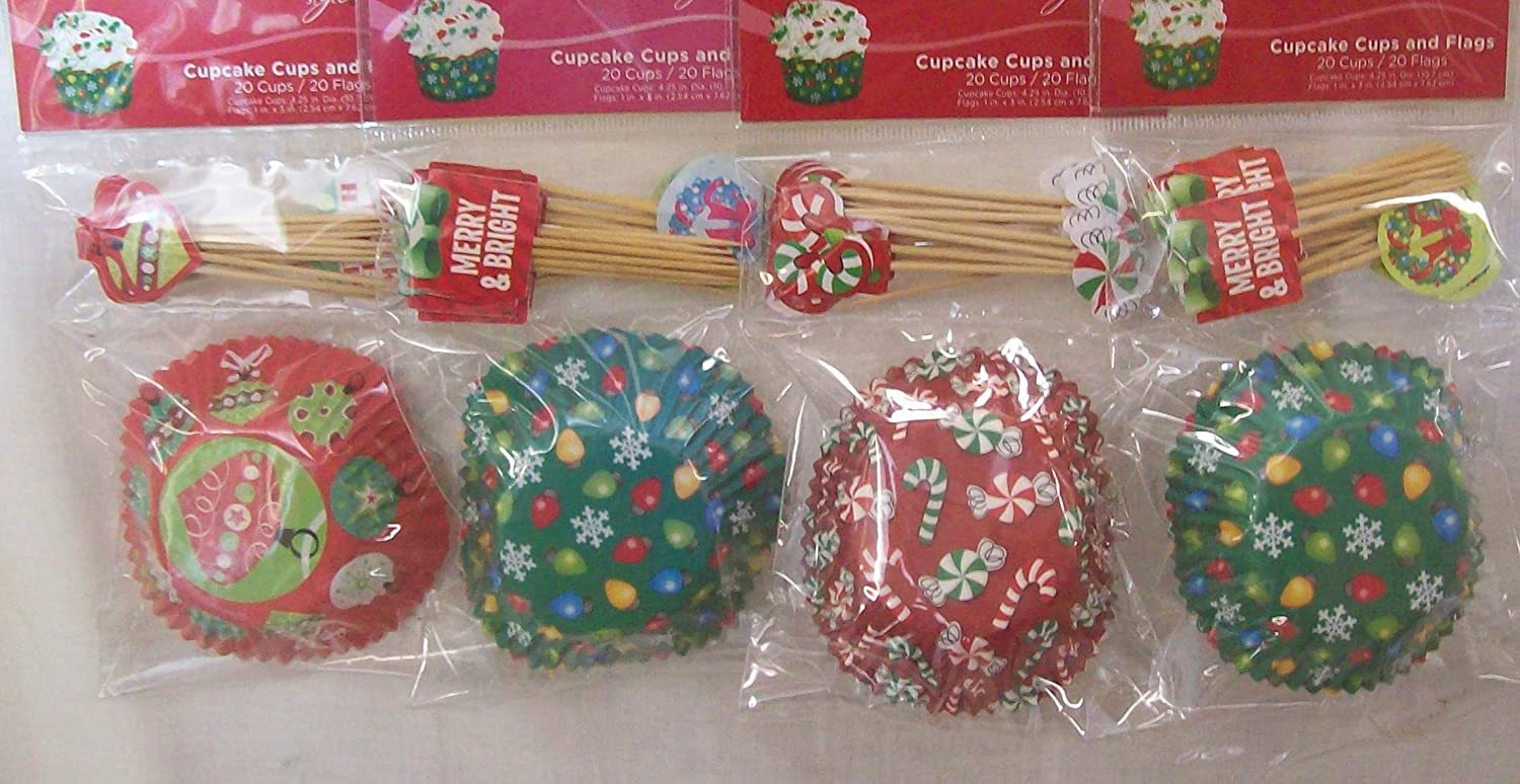 80 NEW Cupcake Size Baking Cups + 80 Picks CHRISTMAS RED AND GREEN