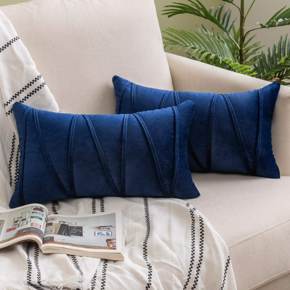 Woaboy Pack of 2 Striped Velvet Throw Pillow Covers Modern Decorative Solid Cushion Covers Rectangle Soft Cozy for Bed Sofa Couch Car Living Room 12x20inch 30x50cm Navy