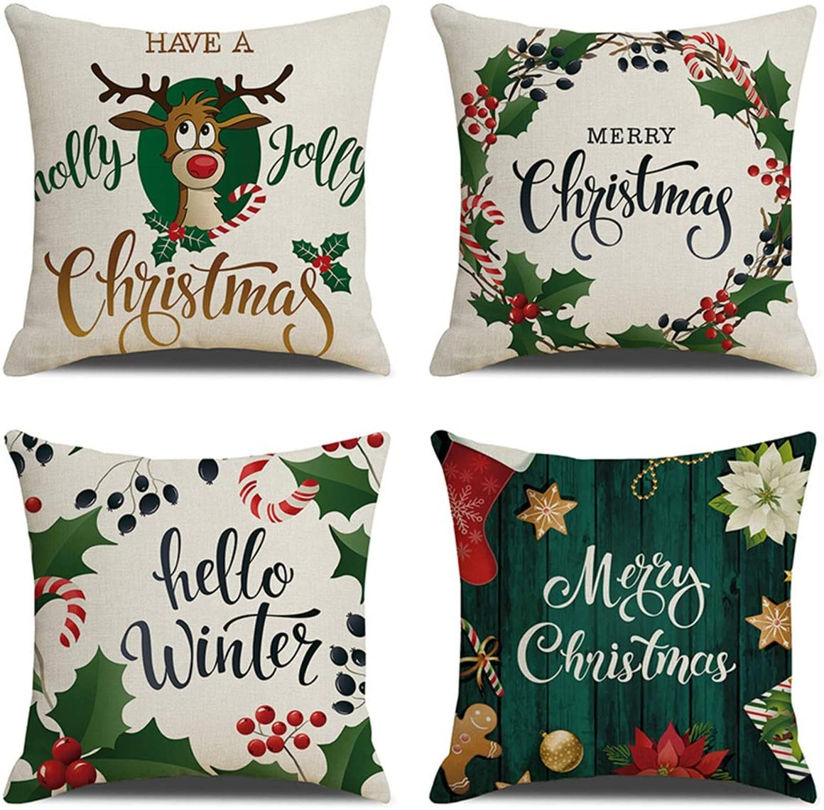 XIECCX Christmas Throw Pillow Covers 18x18 Set of 4 Outdoor Pillowcases Winter Home Decorative Pillows for Couch Sofa Bed Breathable Linen with Hidden Zipper(Christmas Elk)