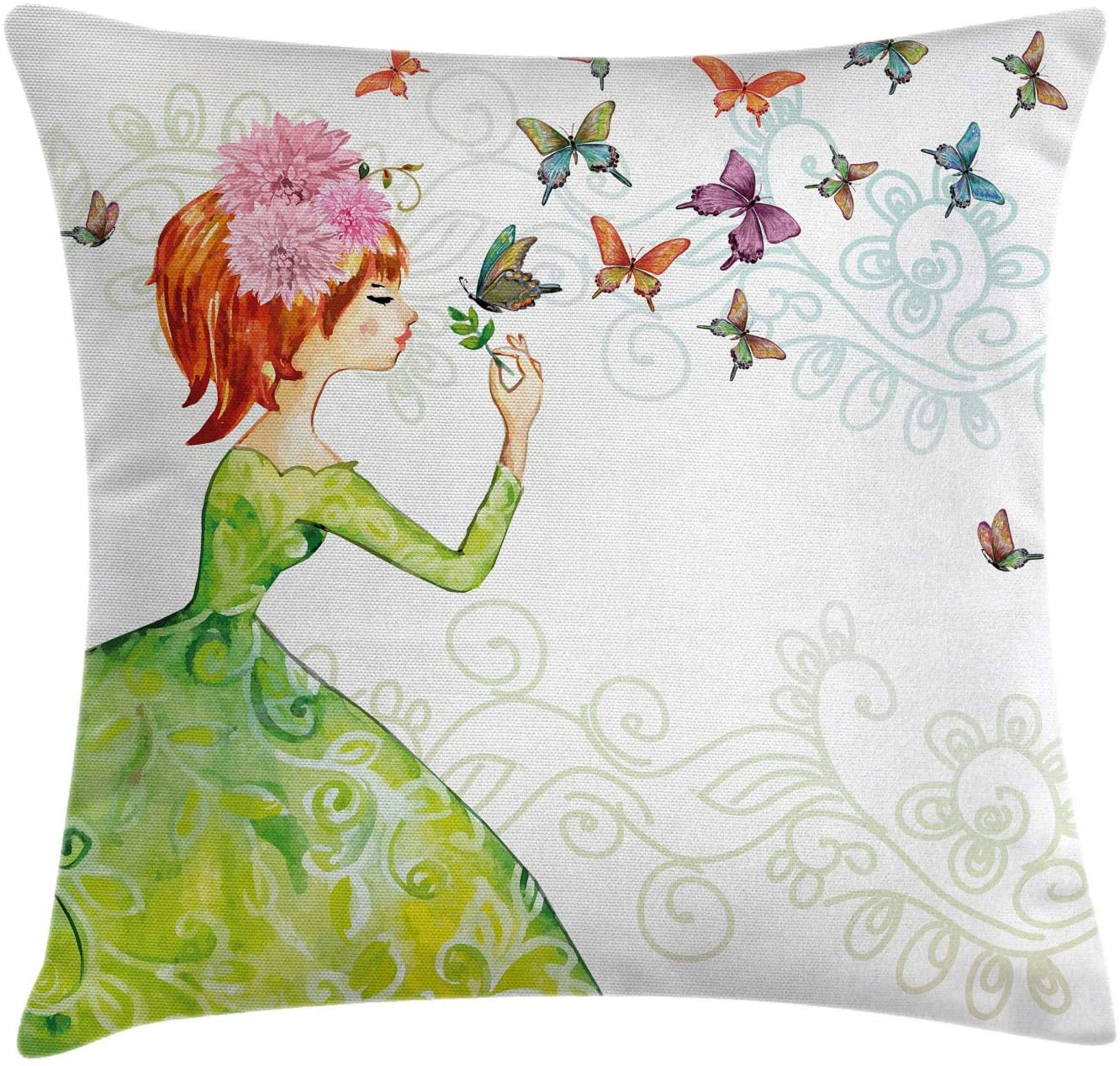 Ambesonne Butterfly Throw Pillow Cushion Cover, Floral Lady in Green Dress with Leaf Ornaments Flower Pastel Butterfly, Decorative Square Accent Pillow Case, 18 X 18, Pink Orange