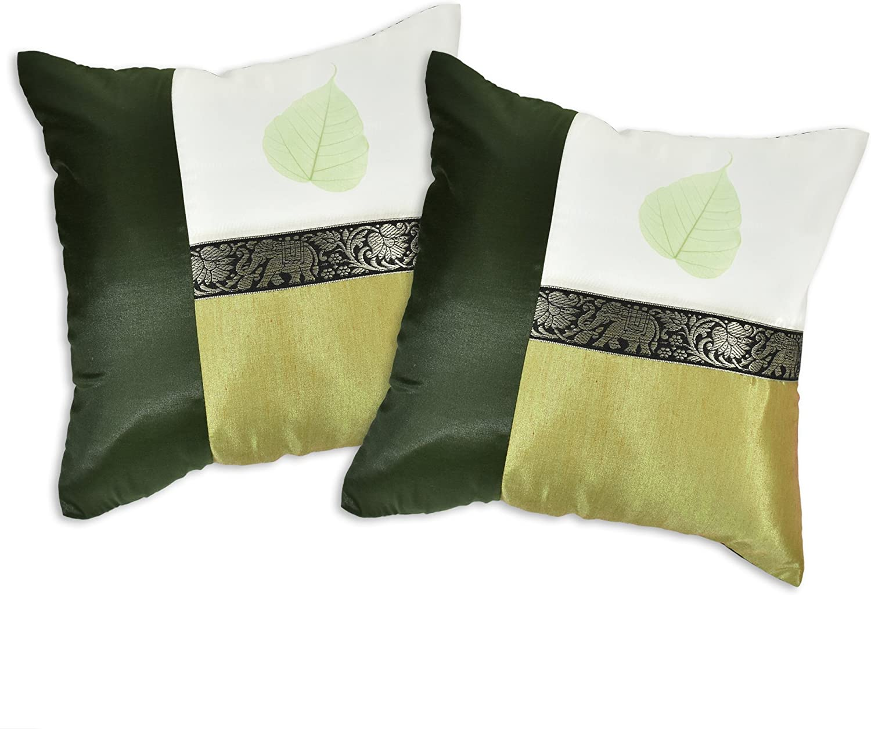 AeraVida Forest Green Elephant Stripe Real Leaf Silk Throw Pillow Cushion Cover Set (Green)