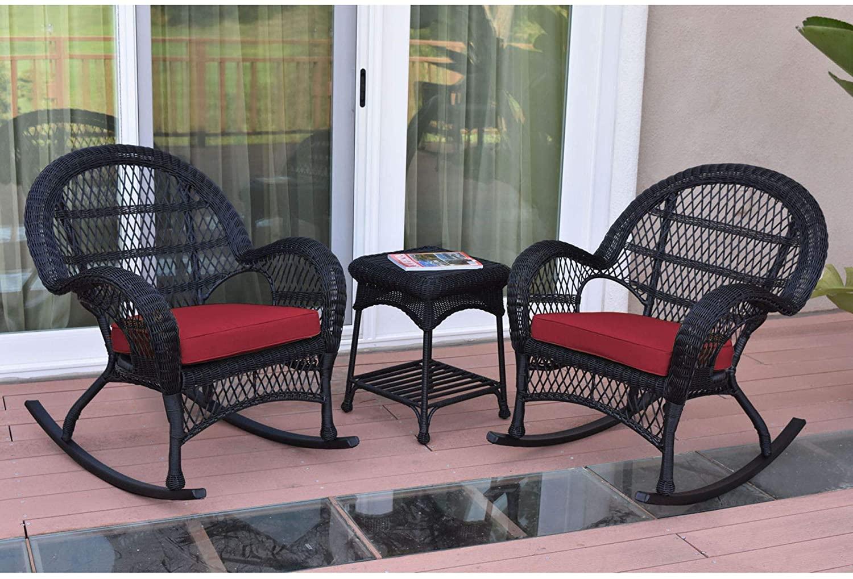 3-Piece Black Wicker Outdoor Furniture Patio Rocker Chair Set - Red Cushions