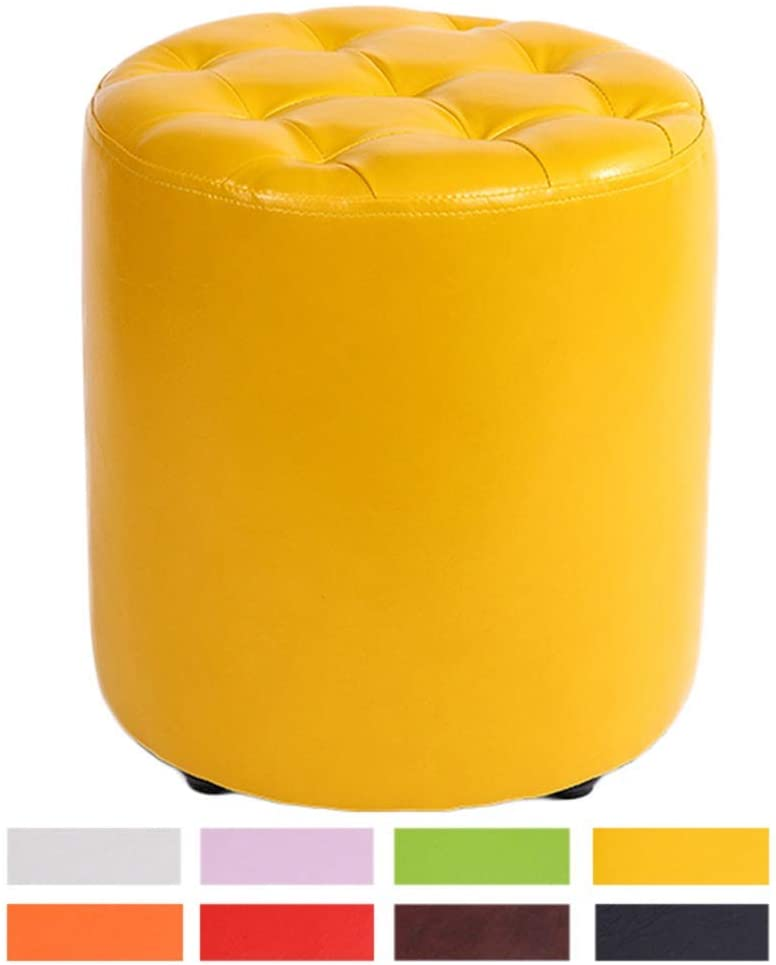 ZENGAI Pouffes and Footstools Leather Upholstered Round Pouf Ottoman, Easy to Clean, Strong Bearing Capacity, 8 Colors (Color : Yellow, Size : 32cmx35cm)