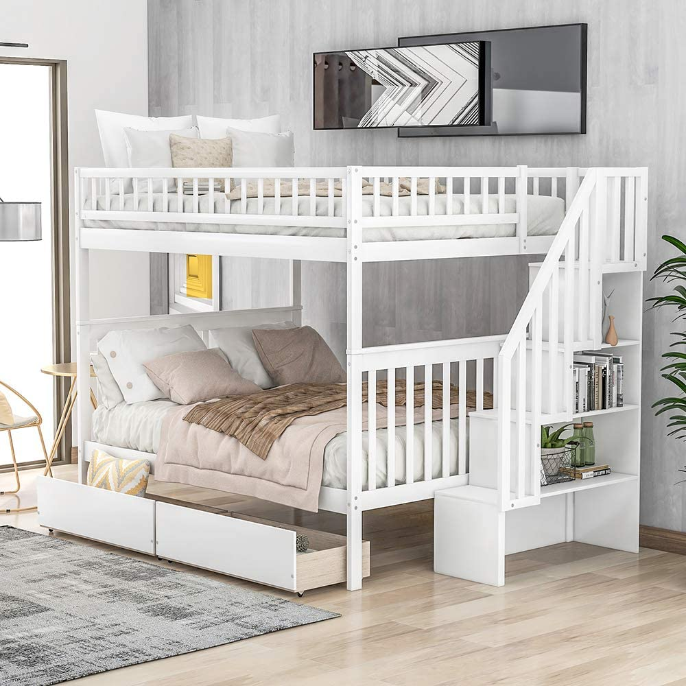 Bunk Beds with Drawers, Rockjame Solid Wood Full Over Full Bunk Bed Frame with Stairway, Strong Slat Support and Safety Guardrails, Great for Kids and Teens (White)
