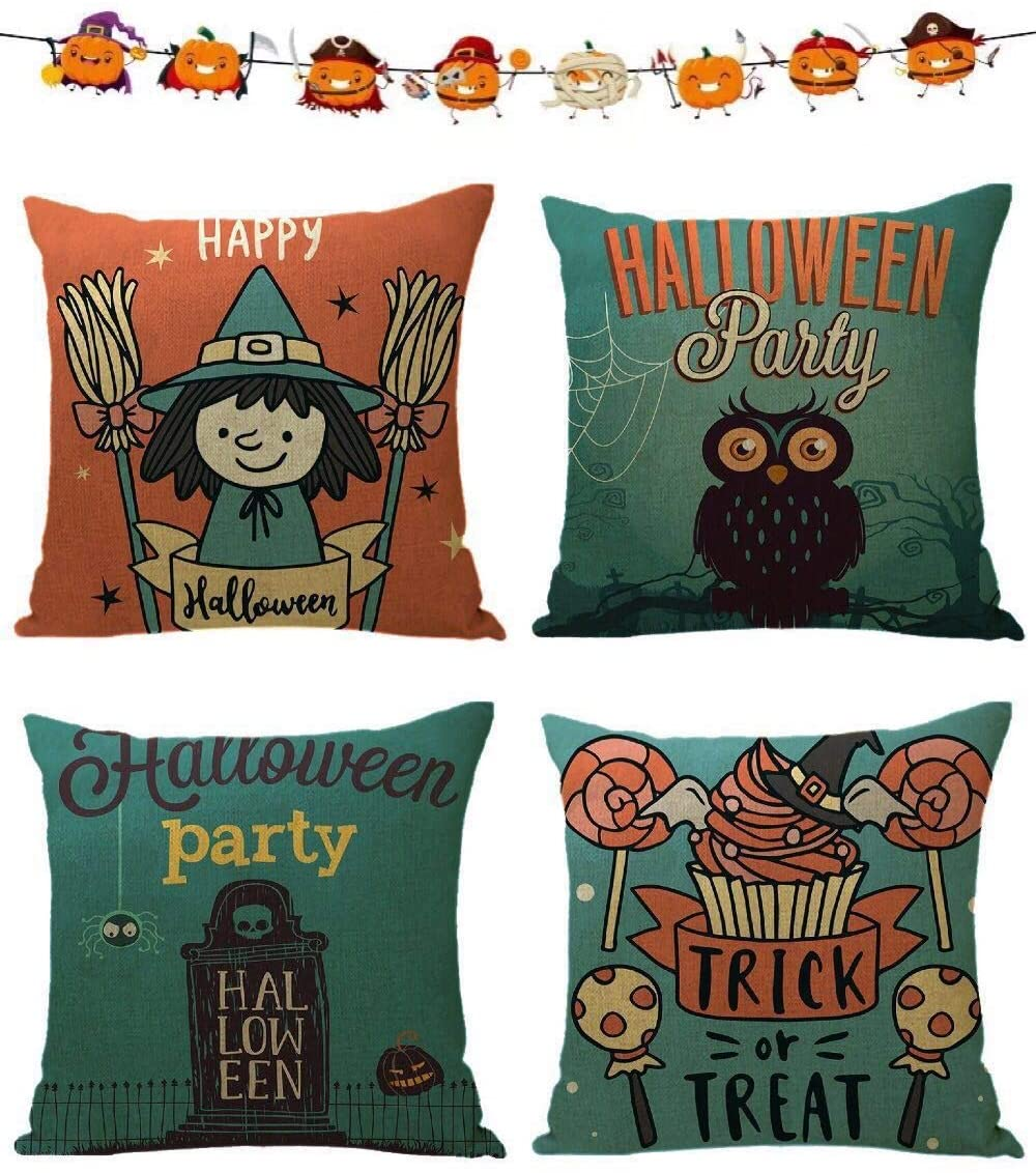 ALLAXDO Happy Halloween Throw Pillow Covers 100% Linen,18 x 18 Inch Witch/Trick or Treat/Owl Pillow Covers Sofa Home Decorative Cushion Covers Set of 4,with Deco Flags for Free