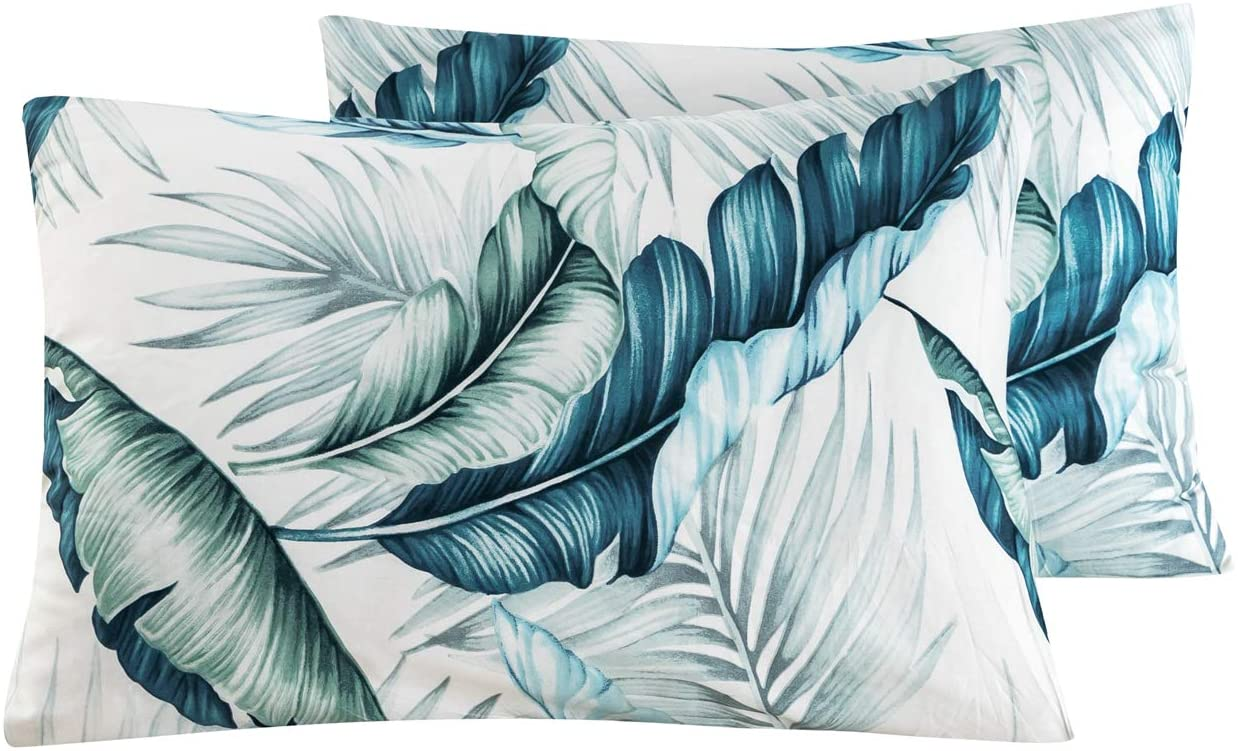 SUSYBAO 100% Cotton Pillowcases King Size Set of 2 Green Tropical Botanical Leaves Print Bed Pillow Covers Envelope Closure End Pillow Protectors Hotel Quality Soft Breathable Durable, 20 in x 36 in