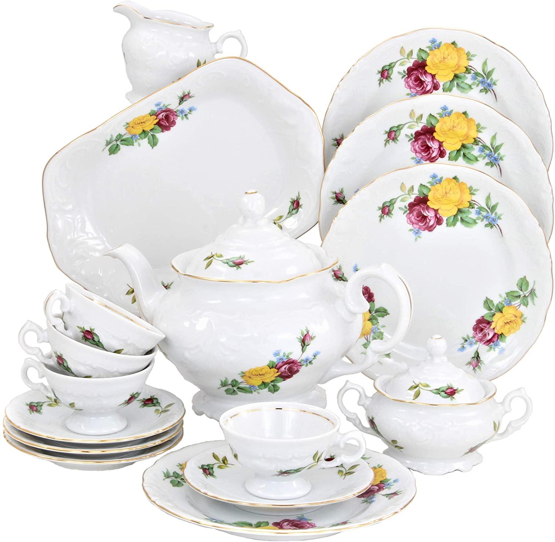 Tea With Grace European 16-piece Fine China Tea Set for Children (Rose Bouquet) - Service for Four
