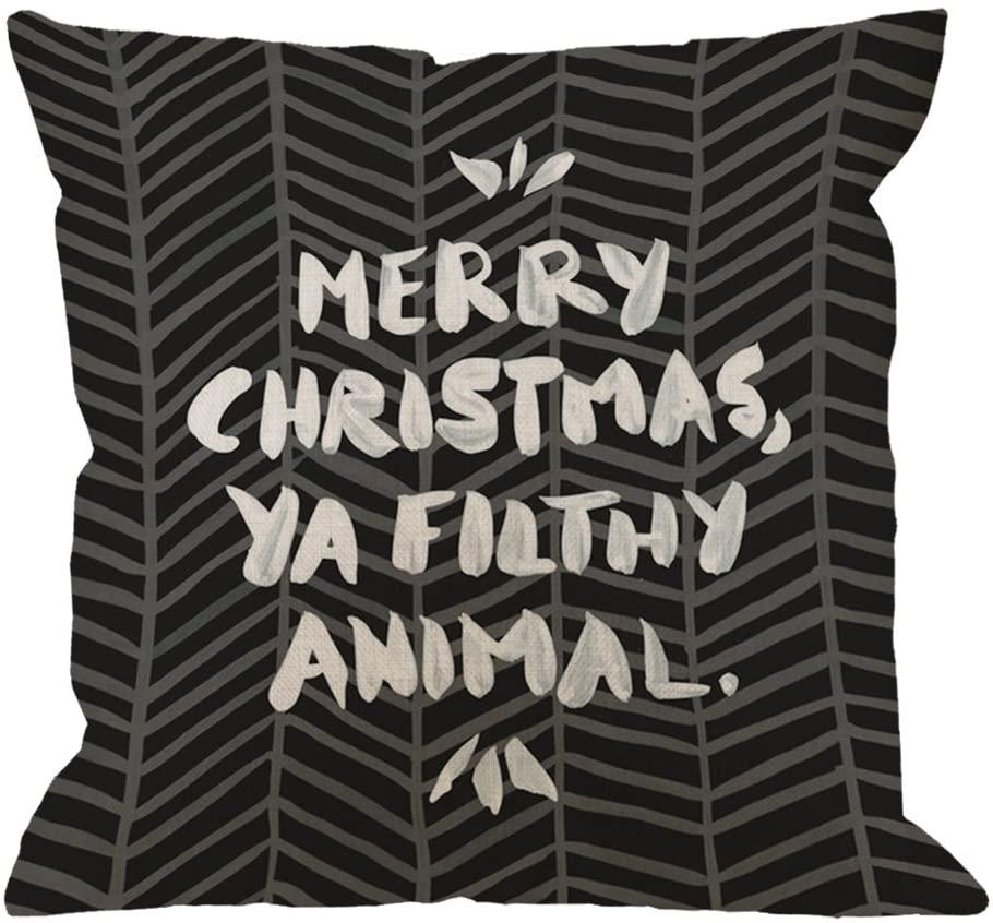 HGOD DESIGNS Throw Pillow Case Merry Christmas Ya Filthy Animal Black Cotton Linen Square Cushion Cover Standard Pillowcase Home Decorative Sofa Armchair Bedroom Livingroom 18 x 18 inch
