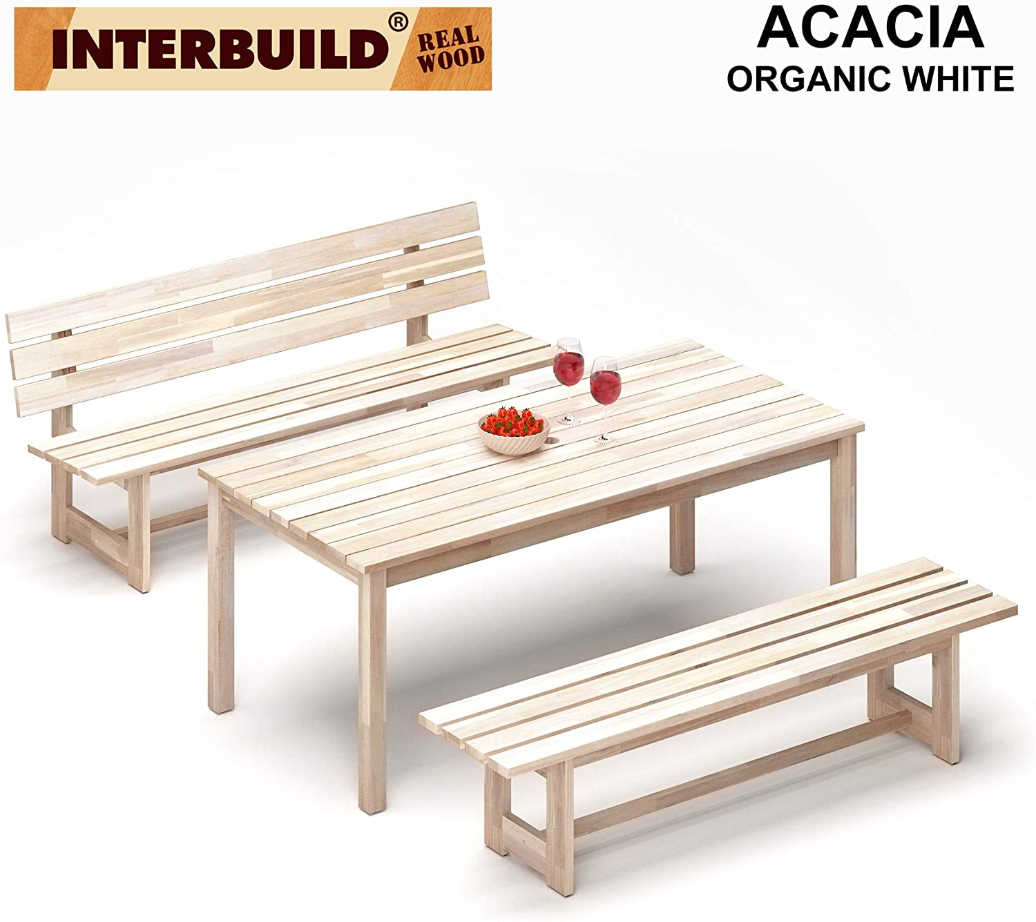 Peninsula 3 Pieces Outdoor Patio Furniture Set, (1 Table + 1 Bench with Back + 1 Bench Without Back) (Organic White)