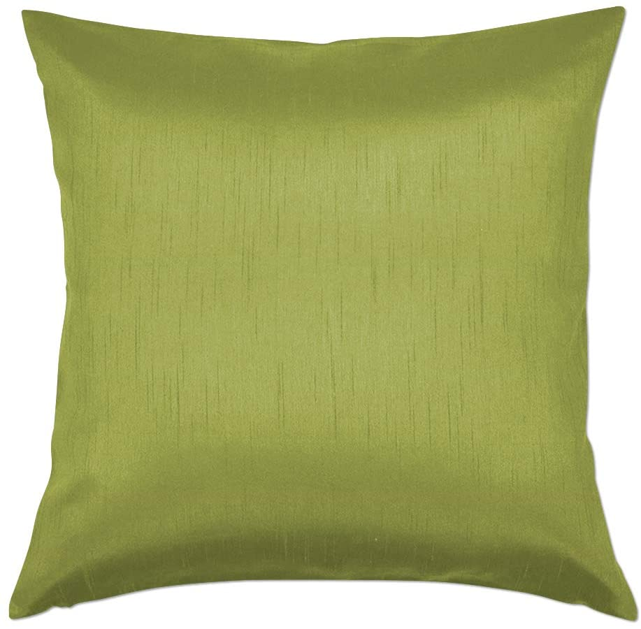 Essencea 20x20 Inches Faux Silk Square Throw Pillow Cover Solid Color Decorative Soft Shiny Pillowcase/Sham with Sturdy Hidden Zipper for Sofa   Bedroom   Living Room   Car (Green)