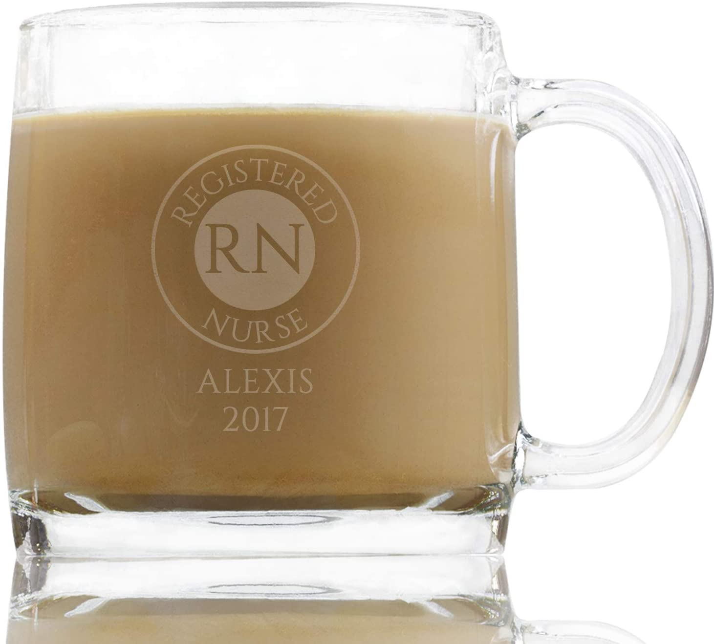RN Round Badge 13 Oz Personalized Coffee Glass, Coffee Cup Nursing School Medical Gifts