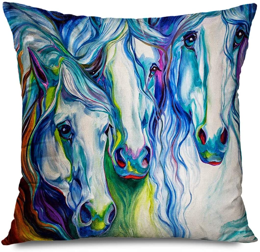 DANGCCI Animal Decorative Throw Pillows Cushion Cover for Bedroom Sofa Living Room Three Spirits Equine Painting Watercolor Horse Pillowcase 18 x 18 Inches