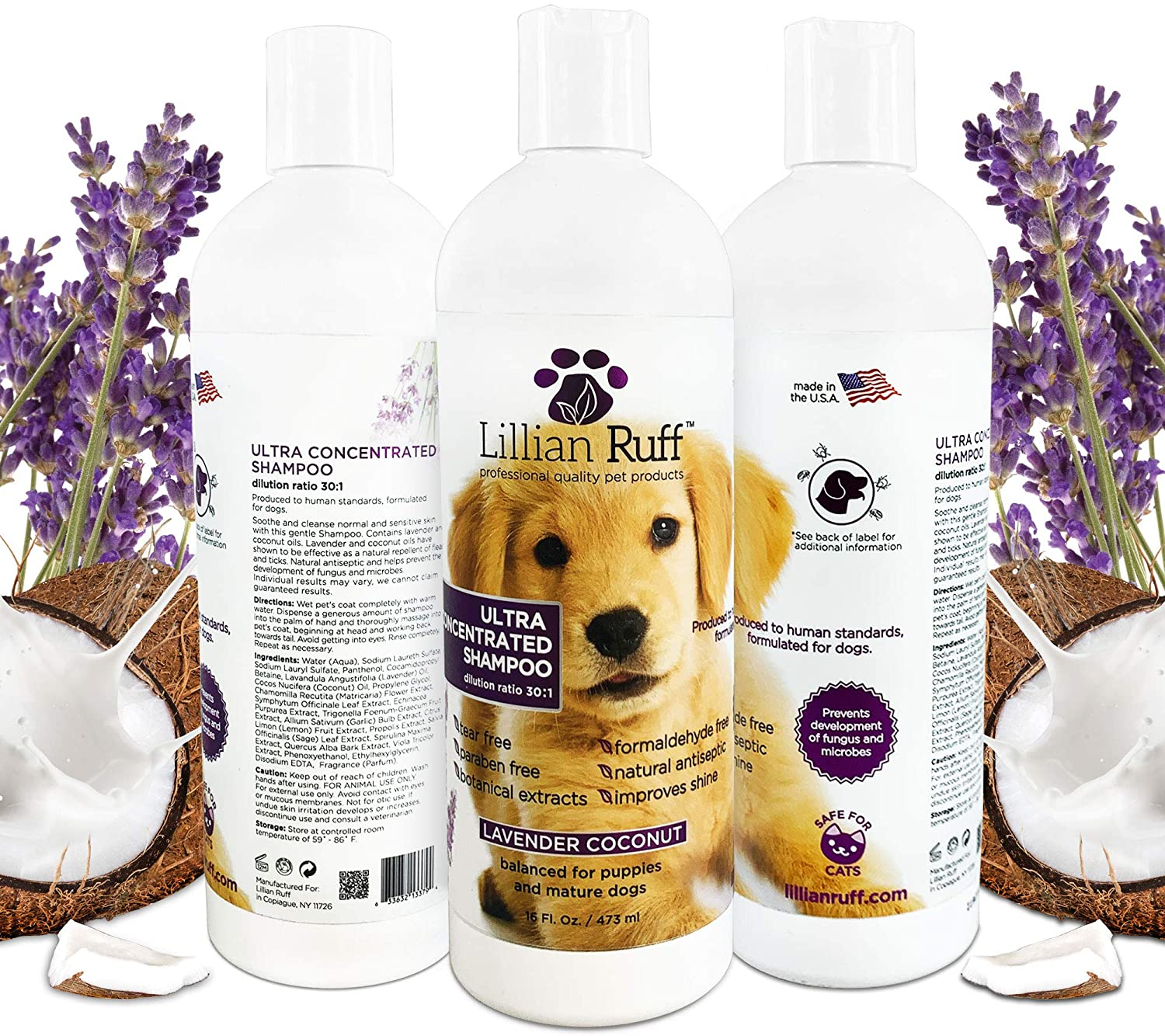 Lillian Ruff Professional Dog Shampoo – Concentrated Dog Shampoo with Aloe - Safe for Cats – Tear Free Lavender Coconut Scent – Soothe & Cleanse Normal to Dry Itchy Sensitive Skin – Made in USA