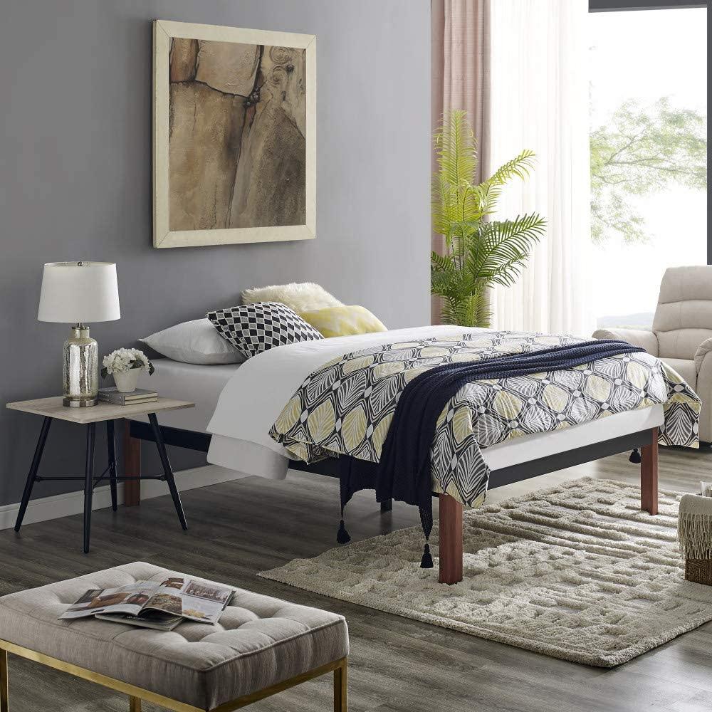 Classic Brands DeCoro Devon Wood Slat and Metal Platform Bed Frame | Mattress Foundation, Full