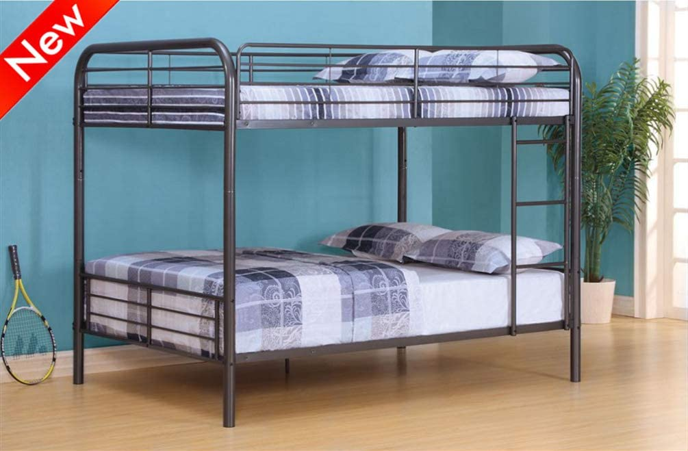 Rajmarti Stronger & More Durable Metal Bunk Beds Full Over Full for Kids and Adults with Ladder and Heighten Safety Rail, Convertible Full Over Full Bunk Bed Frame for Teens Boys Girls (Gunmetal)