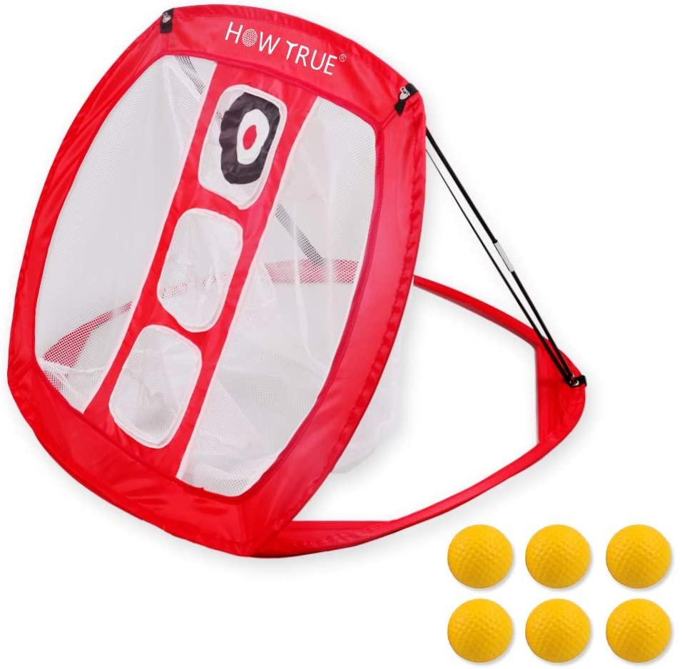 HOW TRUE Golf Chipping Net Indoor/Outdoor Golfing Target Net for Backyard with 6 Golf Balls