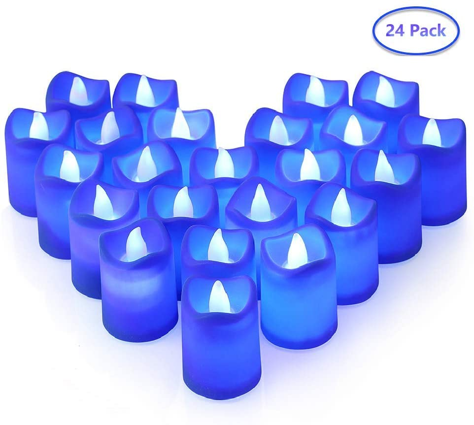 LITAKE Blue Led Candles,Flickering Realistic LED Candle Lights Bulk,Flameless Blue LED Tea Lights in Blue Light for Birthday Wedding Party Date Decor,24 Packs