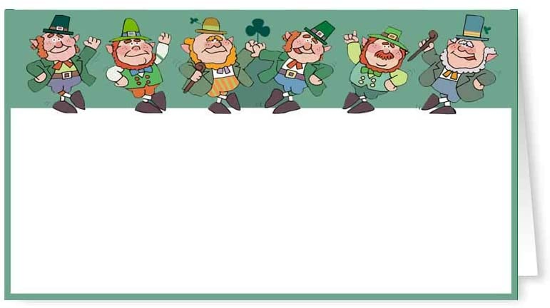 Stonehouse Collection St Patricks Day Place Cards - 25 Guest Seating Name Cards/Small Gift Cards - Party Table Tents- (Leprechauns)