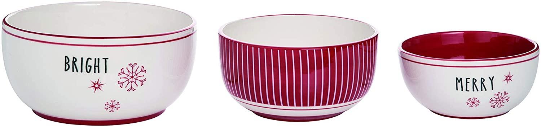 Snow Stripes Rosy Red 9 x 9 Dolomite Ceramic Christmas Serving Bowls Set of 3
