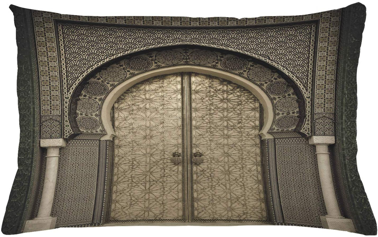 Ambesonne Moroccan Throw Pillow Cushion Cover, Aged Gate Geometric Pattern Doorway Design Entrance Architectural Oriental Style, Decorative Rectangle Accent Pillow Case, 26