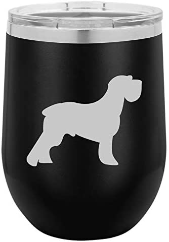 12 oz Double Wall Vacuum Insulated Stainless Steel Stemless Wine Tumbler Glass Coffee Travel Mug With Lid Schnauzer (Black)