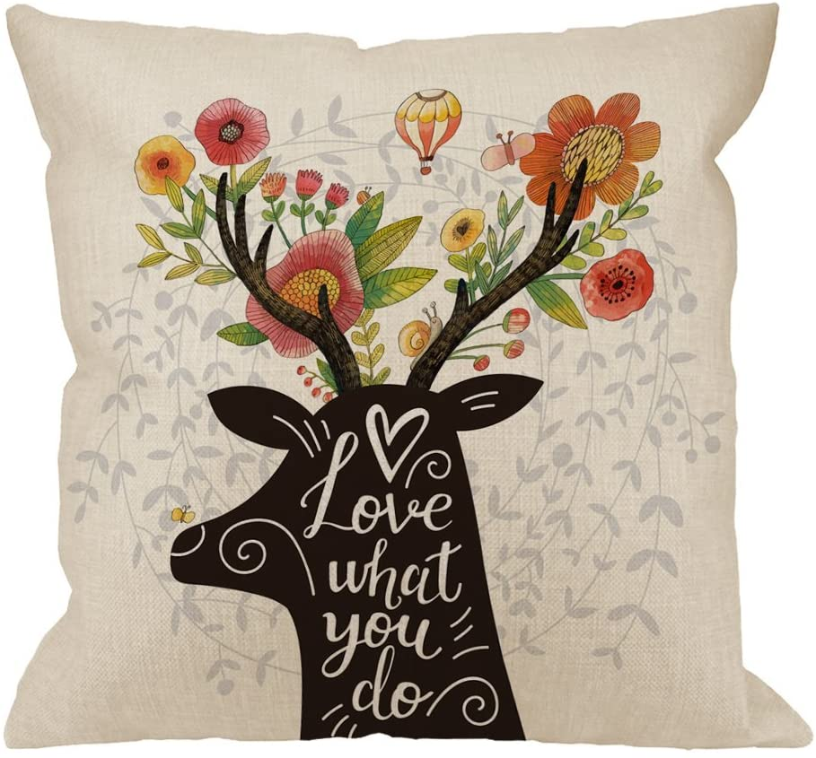 HGOD DESIGNS Throw Pillow Cover Deer with Flowers in Horns Lovely Spring Concept with Letter Love What You Do Home Decorative Pillow Cases Cotton Linen Square Cushion Covers for Sofa Couch 18x18 Inch