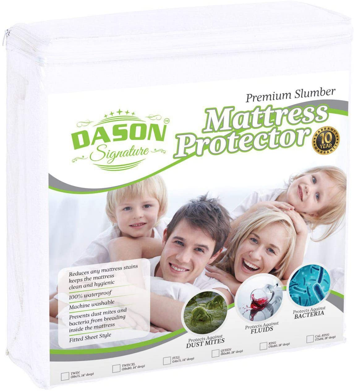 DASON Signature Premium Mattress Protector pad Cover Super Soft Cotton Sheet - Waterproof & Breathable Hypoallergenic Anti-Allergy and Comfortable - Twin Size