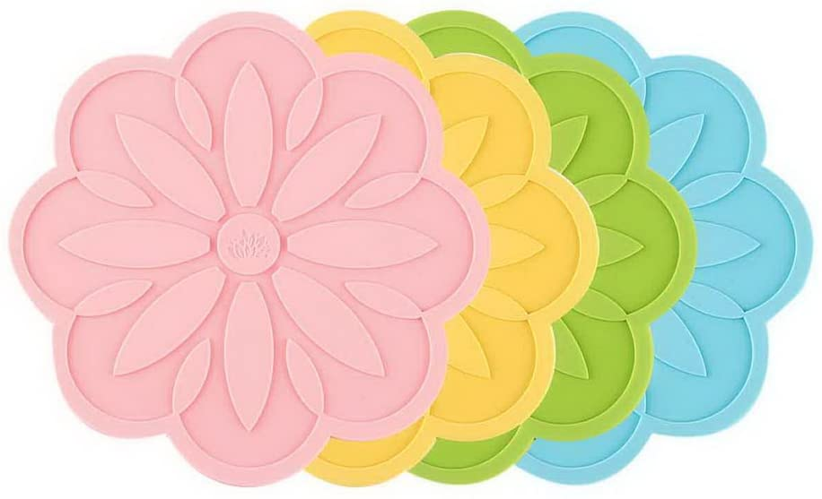 Gentle Meow Set of 4 Cornflower Daisy Shape Silicone Coasters Insulation Cup Mats Multicolor