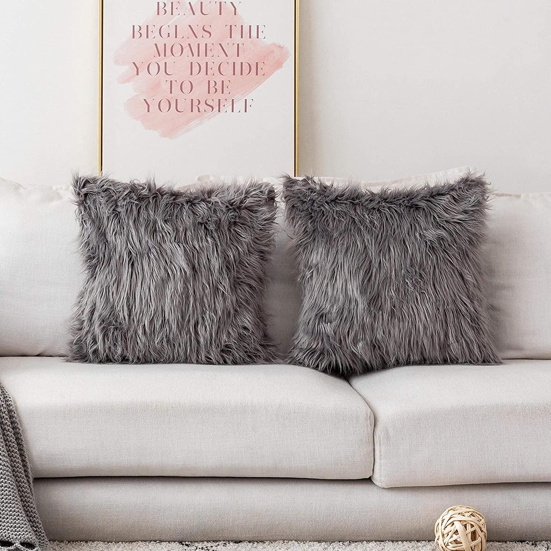 Home Brilliant Throw Pillows Set of 2 Decorative Luxury Series Merino Throw Pillow Case Mongolian Faux Fur Cushion Cover 20