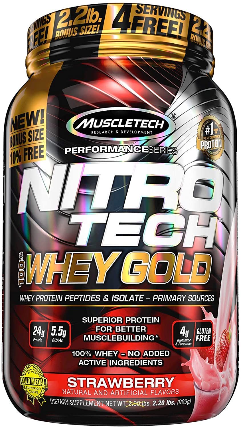MuscleTech Nitro-Tech Whey Gold Protein Powder, Whey Isolate and Peptides, 24 Grams Protein, 5.5 Grams BCAAs, Easy to Mix, Tastes Great, Gluten-Free, Strawberry, 2.2 Pounds (31 Servings)