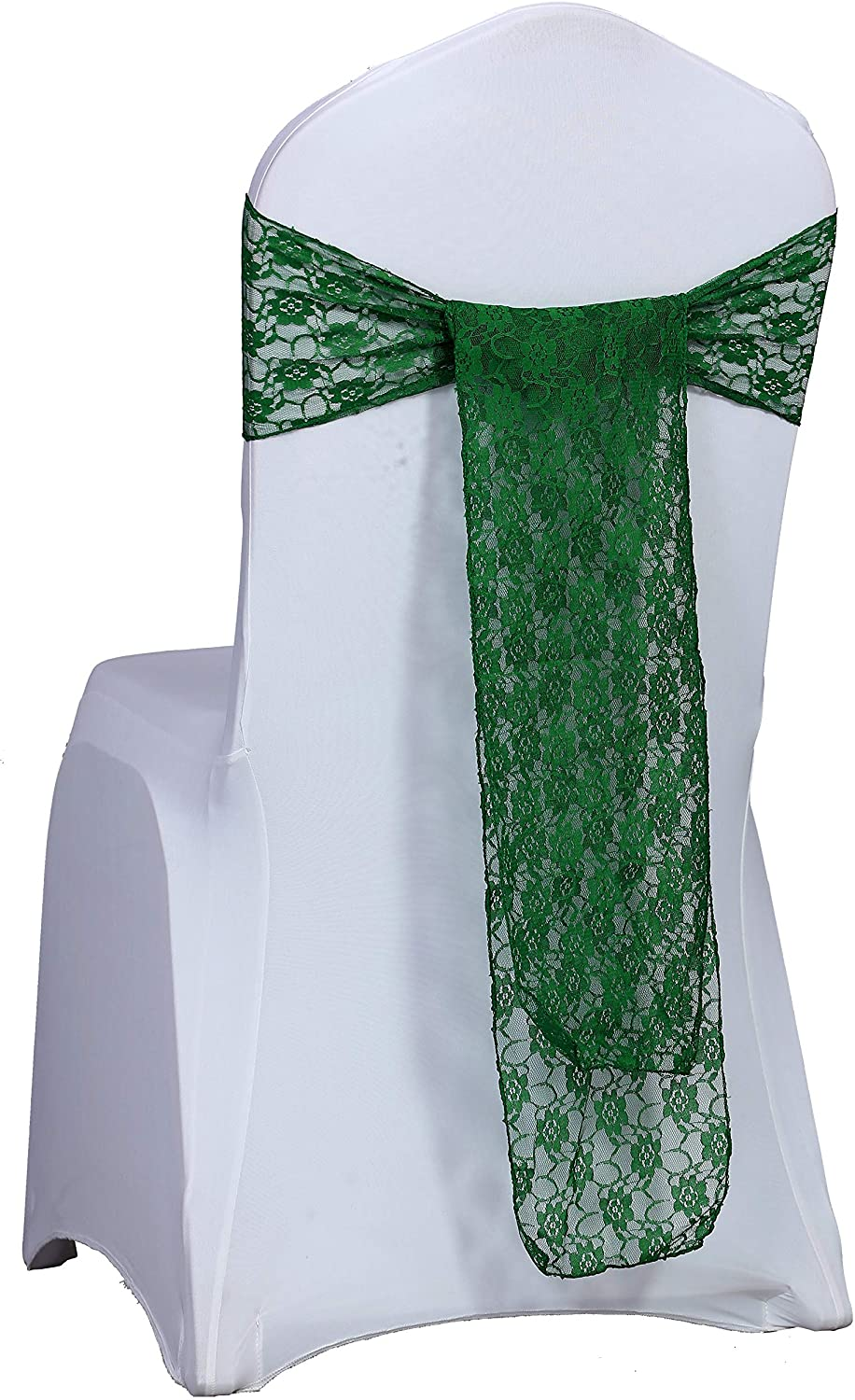 mds Pack of 25 Lace Chair Bow Sashes sash for Wedding or Events Party Supplies Chair lace sash - Hunter Green