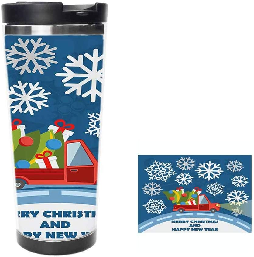 Happy New Year Merry Christmas Truck with Gift Boxes Tree and Snowflakes ArtCoffee Cup,Drinking Cup, Female Male,Double stainless steel vacuum insulation,Thermos cup-14 oz-397ML