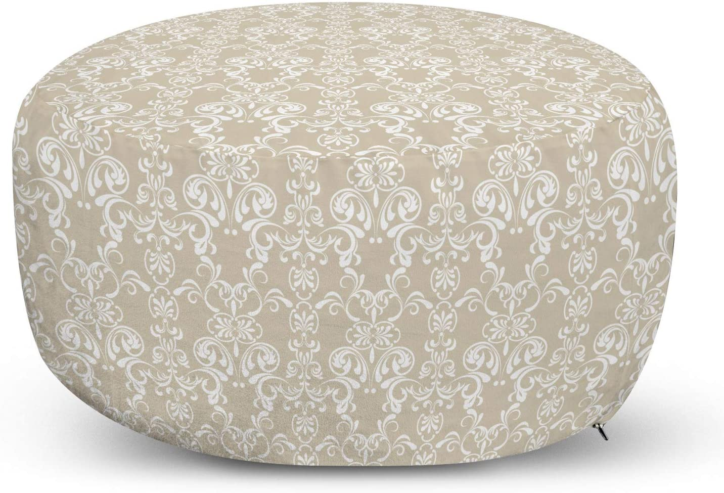 Ambesonne Beige Ottoman Pouf, Lace Inspired Floral Arrangement Traditional Foliage Pattern Ornate Romantic Design, Decorative Soft Foot Rest with Removable Cover Living Room and Bedroom, White Beige