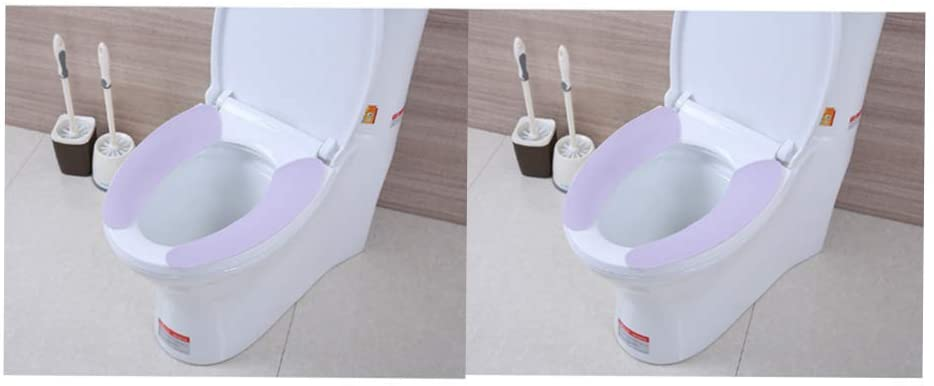 DADA Toilet Seat Cushion,Adult Pad Cover Washable Stickers Toilet Seat Cover Universal,2 Pairs (Purple)