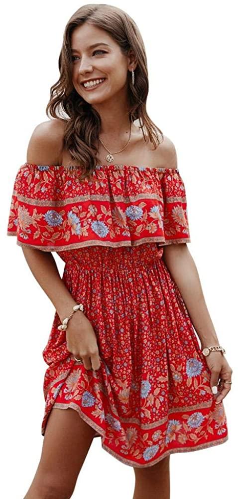 ROYALMAL Womens Dress Casual Off Shoulder Floral Print Summer Dresses Bohemian Mini Swing Skater Dress