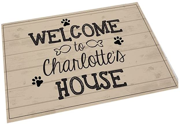 GiftsForYouNow Welcome Personalized Pet Feeding Mat, Fish