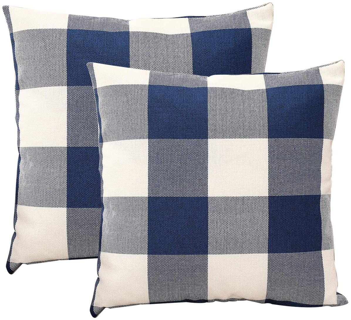 JES&MEDIS Pack of 2, Check Cotton Linen Decorative Square Throw Pillow Covers Cushion Case for Home Sofa Bedroom Office Car 50 X 50 cm (Navy Blue, 20