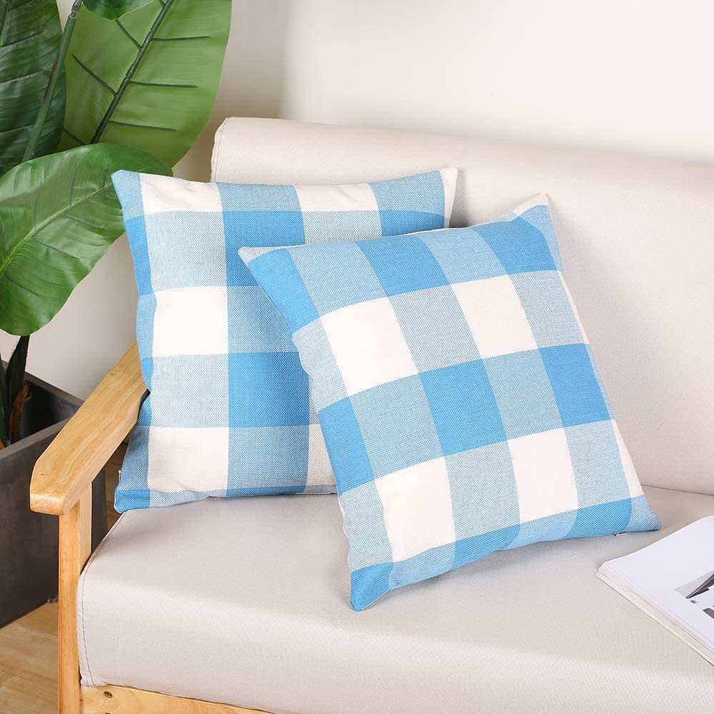 MENGT Set of 2 Farmhouse Decorative Throw Pillow Covers 18 x 18 Inches Buffalo Check Plaid Square Linen Indoor Outdoor Cushion Case for Kitchen Sofa Couch Bedroom, Sky Blue and White