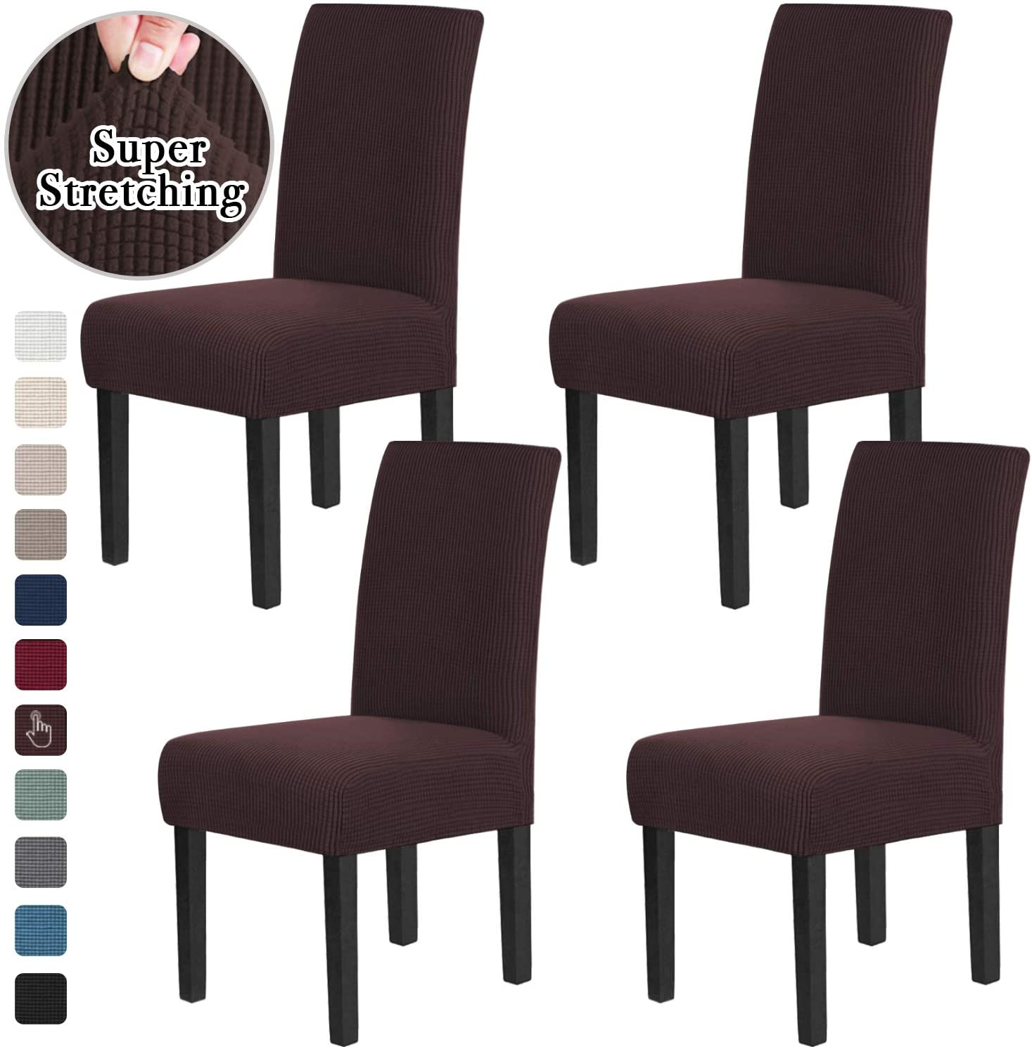 Chair Covers for Dining Room Stretch Dining Chair Covers Chair Cushions for Dining Chairs Super Fit Dining Chair Protector Removable Washable Chair Covers Set of 4, Brown