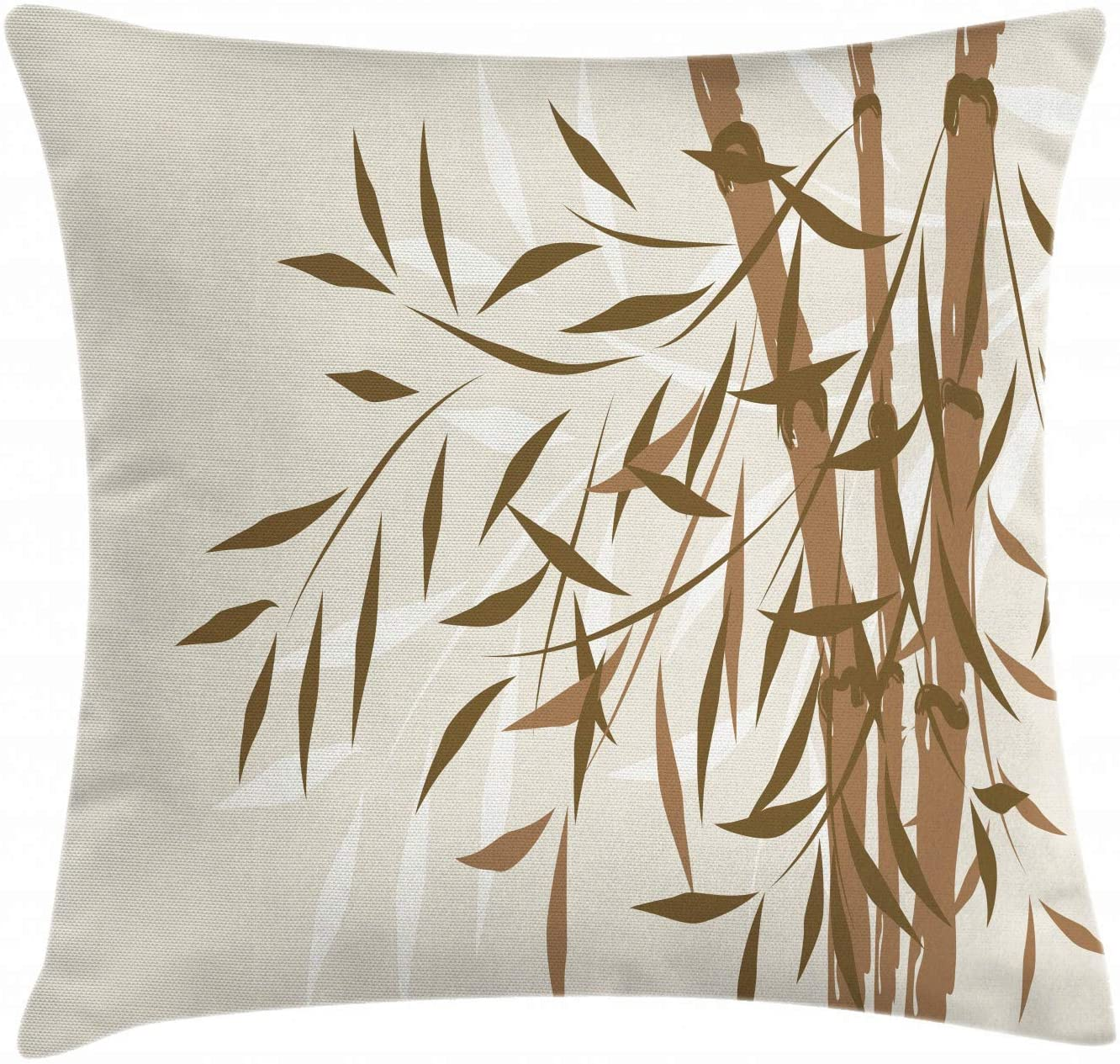 Lunarable Bamboo Throw Pillow Cushion Cover, Asian Tree Design Soft Colors Chinese Culture Inspired Artwork Eastern Pattern, Decorative Square Accent Pillow Case, 20