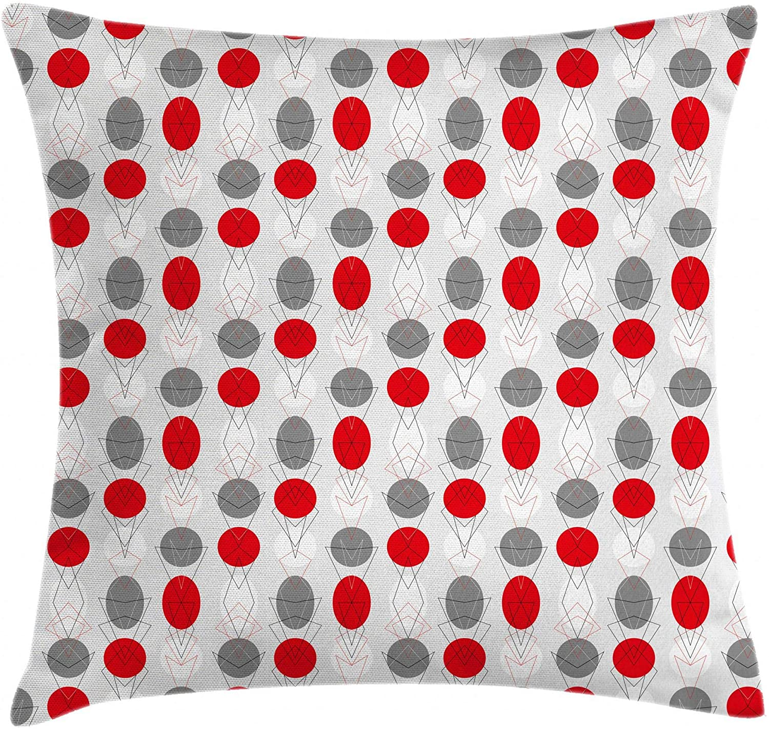 Ambesonne Mid Century Throw Pillow Cushion Cover, Big Circular Spots and Oval Shapes Combined with The of Geometry, Decorative Square Accent Pillow Case, 20 X 20, White Grey
