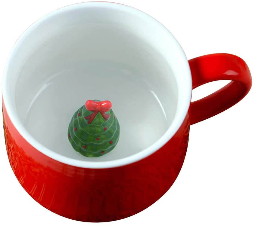 BESTONZON Creative 400ML Ceramics Coffee Cup 3D Cute Cartoon Three-dimensional Animal Coffee Mug Christmas Ceramic Couple Lovely Cup Tea Cup with Ceramics Lid (Christmas Tree, Red)