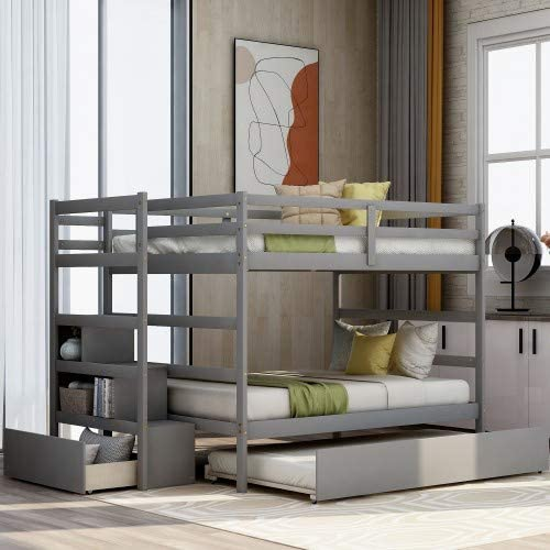 Full Bunk Beds, Solid Wood Full Over Full Bunk Bed Frame with Stairs, Storage and Safety Guard Rail,for Boys, Girls, Kids, Teens and Adults (Gray)